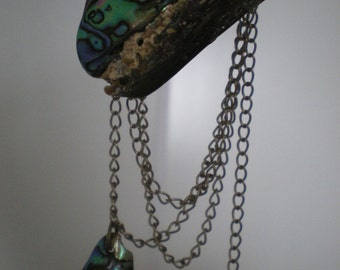 Asymetric New Zealand Paua Shell and chain necklace