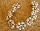 Gorgeous Pearl and Aurora Borealis Rhinestone Vintage Bracelet