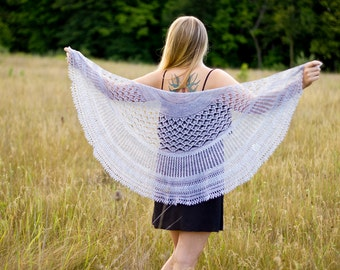 Hand knitted Lace Shawl for Women. Thin, warm, light weight. Custom order