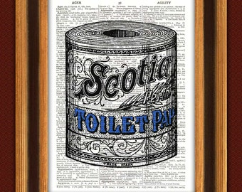 Print Toilet Paper ad,Bathroom decor, wall decoration bath room Dictionary Art Print, Upcycled dictionary page, vintage ad illustration,
