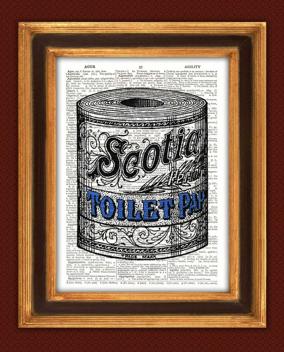 Print toilet paper adbathroom decor wall decoration by for Vintage bathroom printables