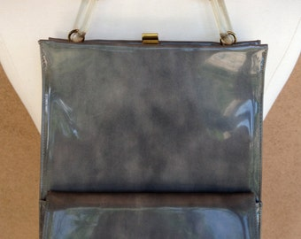 Mid Century probably 60s Grey LEWIS Vinyl HANDBAG Lucite Chain handle Mad Men or Marilyn in The Misfits era