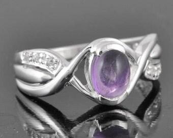 Amethyst ring, sterling silver ring, gemstone ring, oval, purple, february birthstone