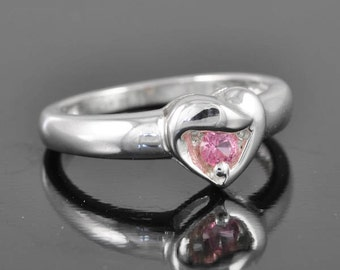 heart ring, gemstone heart ring, tourmaline ring, pink ring, sterling silver ring, silver ring, october birthstone