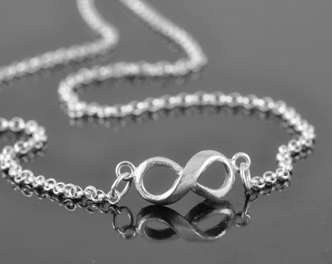 infinity necklace, sterling silver necklace, bridesmaid gift, friendship necklace, anniversary, bridal jewelry, infinity jewelry, Infinity P