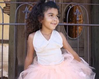 Feeling Peachy vintage  tutu skirt for weddings, flower girls, birthday