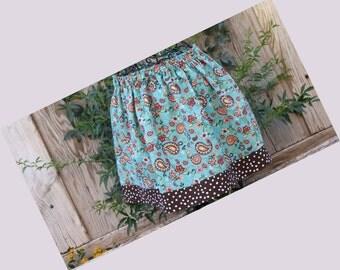 Girls green paisley cotton skirt for spring,summer,fall and winter, preschool,kindergarden, back to school