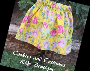 Bright  yellow skirt with flowers great for spring,summer,photoprop,beach, preschool,kindergarden, back to school outfit