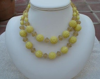 Vintage Yellow  Bead Necklace - 1960s Double Strand Choker Necklace
