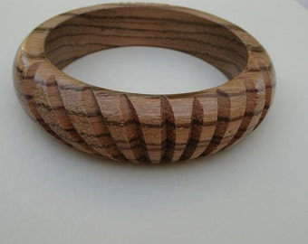 Vintage Carved Wood Bangle Bracelet