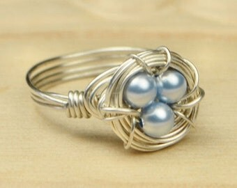 Swarovski Crystal Birds Nest Ring- Sterling Silver Filled Wire Wrap Ring- Size 4, 5, 6, 7, 8, 9, 10, 11, 12, 13, 14