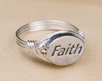 Faith Ring- Sterling Silver Filled Wire Wrapped Ring with FAITH Pewter Bead - Any Size- Size 4, 5, 6, 7, 8, 9, 10, 11, 12, 13, 14