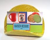 Pottery Sale, Yellow Business Card Holder, Handmade Pottery Sponge Holder, Swirls Texture