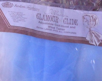 Vintage HEAD SCARF HOOD, glamour glide, wind tamer, coif hood, new old stock,