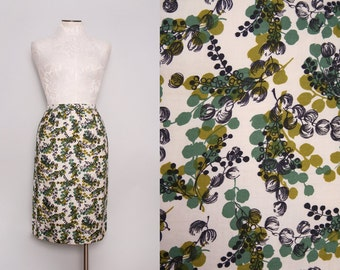 1950s White & Green Floral Pencil Skirt / Medium
