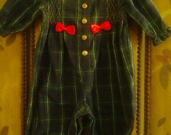 Tartan and red ribbon baby onesie