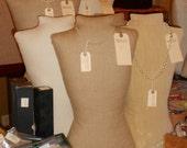 Mannequin, Jewelry Display, Burlap Dressform, Torso, Handcrafted Original Design