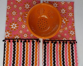 Pink and Orange Flower Tea Towel Set of 2,  Cafe Curtains