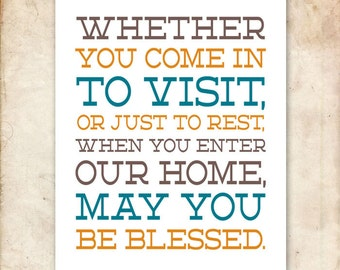 Home Welcome Blessing. 8x10. PDF. DIY Printable Christian Poster. Bible Verse.