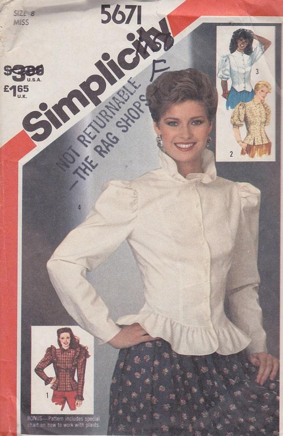 1982 Victorian Prairie Style Blouse Vintage