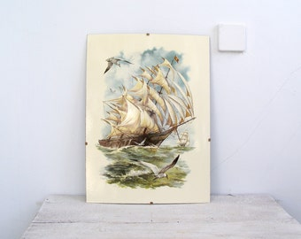 Antique Sailboat Picture, Nautical Home Decor, Sea lover Gift, Seagull Waves Oceanscape Art, Beach House Loft Decor Man Office Wall Hanging