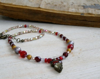 90s Beaded Necklace, Short Beaded Necklace, Red Gold Silver Charm Necklace, Hipster Necklace, Clear Crystal Charm, Designer Necklace Elegant