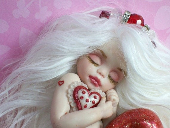 OOAK art doll fantasy mermaid baby sweetheart gift polymer clay sculpture fairy IADR free shipping