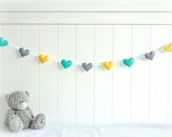 READY NOW - Heart banner/ garland/ bunting in turquoise, yellow and gray felt - Nursery decor - birthday decoration