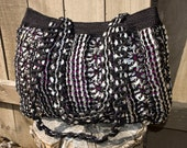 Large Black Upcycled Crochet Pop Tab Bag - Flor7