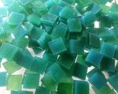 "100 1/4"" AQUA GREEN & LIME Kokomo Stained Glass Mosaic Tiny Tiles T10"