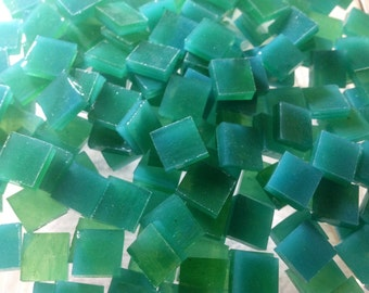 """100 3/8"""" AQUA GREEN Opal & LIME Transparent Stained Glass Mosaic Tile A32"""