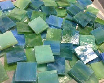 """AQUA GREEN & BLUE - 1/2"""" Mottled Mosaic Stained Glass Tile A4"""