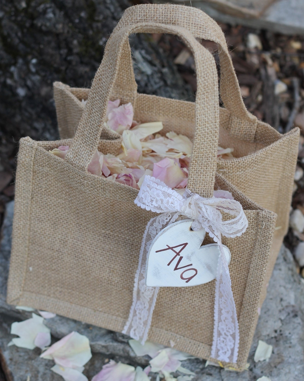Flower Girl Gift Baskets : Bridesmaid gift bag flower girl basket by michelescottage