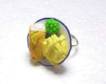 Fish And Chips Ring. Polymer Clay.
