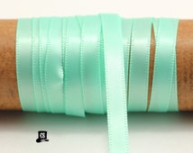 100 yards Mint Green Satin Ribbon - 1/4 inch - Invitation Making, Wedding, Shower, Favors