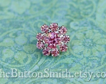 "Rhinestone Buttons ""Cleopatra""(11mm) RS-001 in Pink- 5 piece set"