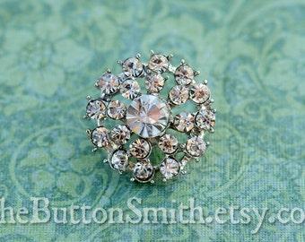 """Rhinestone Buttons """"Elizabeth"""" (21mm) RS-034 - 5 piece set"""