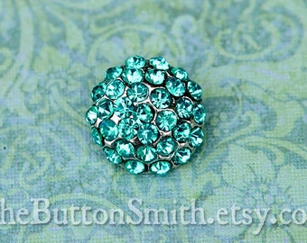 """Rhinestone Buttons """"Holly"""" (18mm) RS-057 in Aquamarine - 20 piece set"""