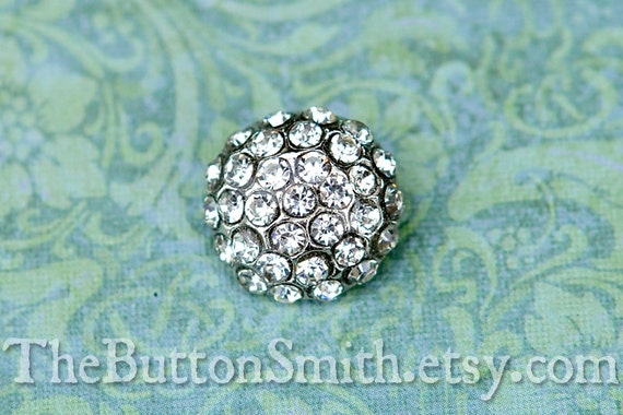"Rhinestone Buttons ""Holly"" (18mm) RS-057 in Clear - 20 piece set"