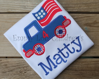 Patriotic Applique Shirt or Onesie Personalized for Boy or Girl - Perfect for Summer