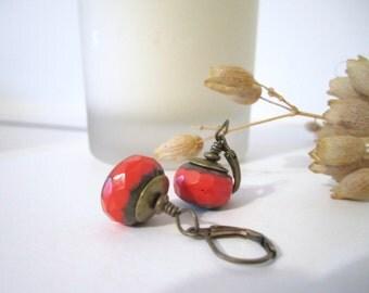 Czech Glass Beaded Dangle Earrings - Picasso Finish Drop Earrings - Orange - Red