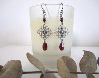 Antique Silver Diamond Drop - Dangle Earrings with Ruby Red Teardrop Beads