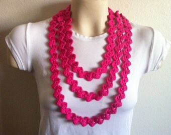 Crochet Hot Pink Infinity Scarf Necklace