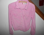 Reserved for huntingNC Sale  PINK Levis Levi's Red tab western cowgirl  corduroy womens shirt button up jeans top sz L vintage