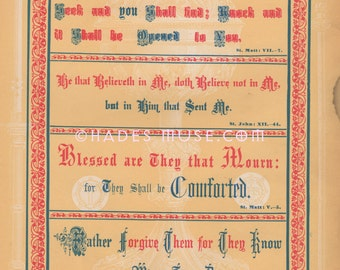 Blessed Are That Mourn For They Shall Be Comforted-Forgive Them For They Know Not What They Do-Bible Quote-1800's Antique Vintage PRINT