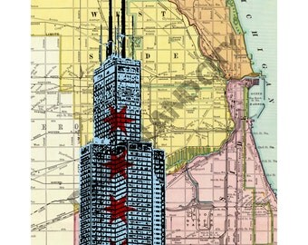 Chicago Willis Tower Sears Tower Street Map Background - 8 x 10 Print
