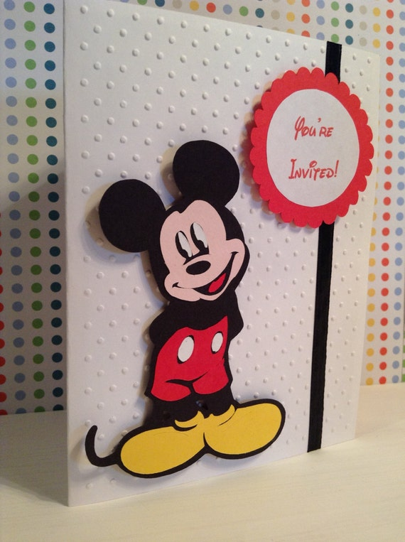 Handmade Mickey Mouse Birthday Invitations, disney invitation, Mickey Mouse clubhouse invitations, invites, Mickey invitations, set of 15
