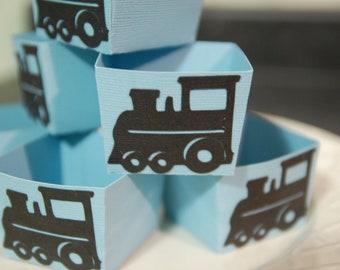 Train Candy Cups, Train Party Supplies, Train Birthday, Train Party Favors, Choo Choo, 12 Pcs, Light Blue / Black Trains