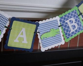 Alligator It's A Boy Banner, Baby Shower Banner, Alligator Theme, Alligator Party, Navy Lime White