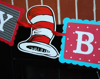 Dr Seuss Inspired Happy Birthday Banner, Cat in the Hat, Dr Seuss Birthday, Dr. Seuss Decorations